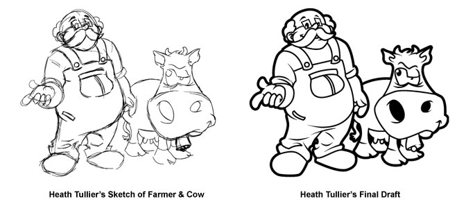 Heath Tullier Custom Illustration of Farmer and Cow from Sketch